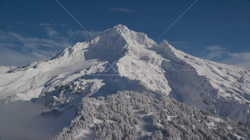 Snow-covered slopes of Mount Hood, Cascade Range, Oregon Aerial Stock Photos | AX154_080.0000000F