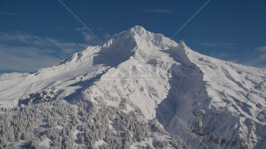 Snowy slopes of Mount Hood in the Cascade Range, Oregon Aerial Stock Photos | AX154_080.0000273F