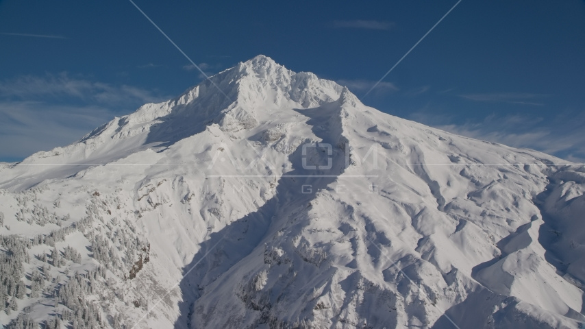 Mount Hood with snowy slopes, Cascade Range, Oregon Aerial Stock Photos | AX154_081.0000218F