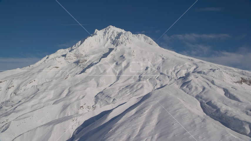 Mount Hood slope covered in snow, Mount Hood, Cascade Range, Oregon Aerial Stock Photos | AX154_083.0000147F
