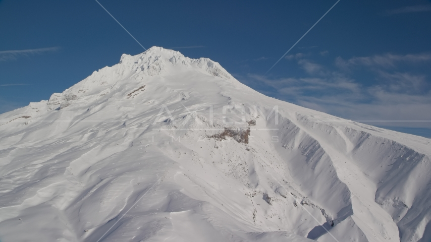 Steep Mount Hood slopes with snow, Mount Hood, Cascade Range, Oregon Aerial Stock Photos | AX154_085.0000000F