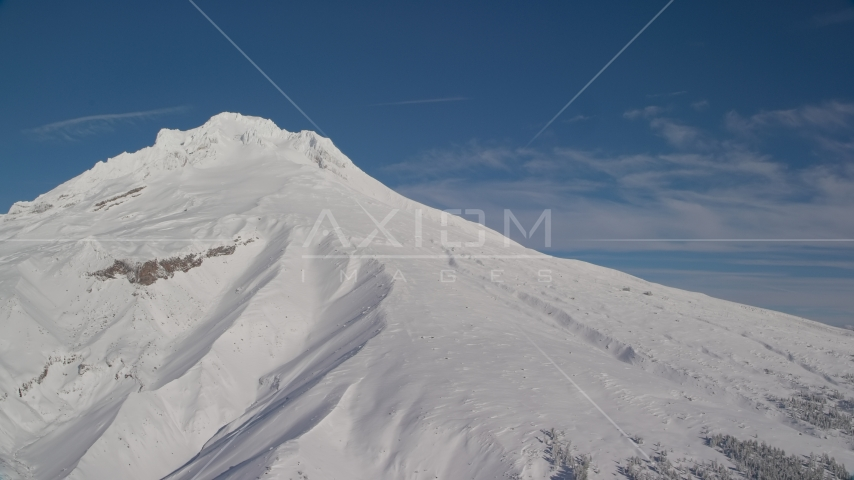 The snowy slopes of Mount Hood, Cascade Range, Oregon Aerial Stock Photos | AX154_086.0000200F