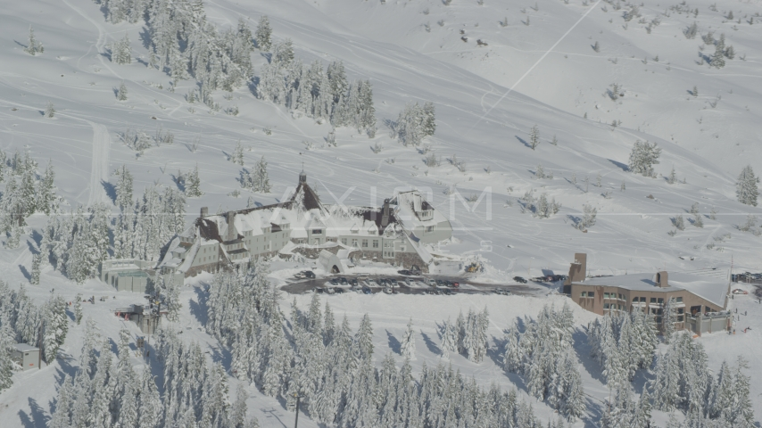 Timberline Ski Resort, located on Mount Hood, Cascade Range, Oregon Aerial Stock Photo AX154_089.0000198F | Axiom Images