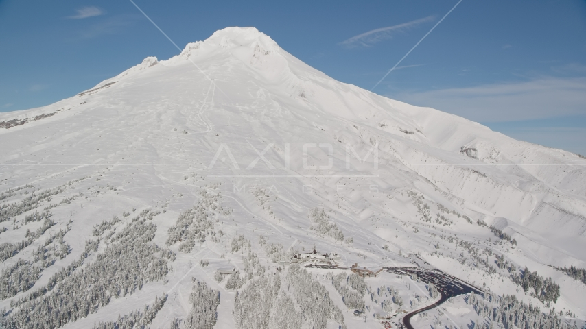 Steep mountain slopes with snow and Timberline Ski Resort, Mount Hood, Cascade Range, Oregon Aerial Stock Photo AX154_090.0000000F | Axiom Images