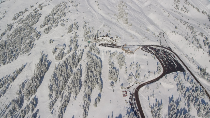 The Timberline Ski Resort on the snowy slopes of Mount Hood, Cascade Range, Oregon Aerial Stock Photos | AX154_095.0000103F