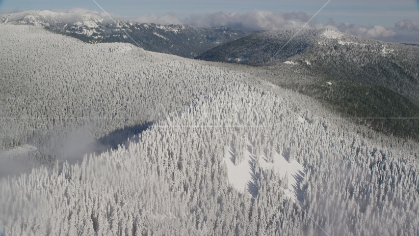 A mountain ridge covered with snowy forest in the Cascade Range, Oregon Aerial Stock Photos | AX154_100.0000359F