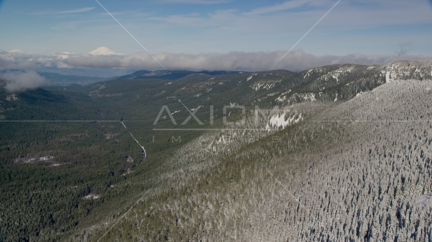 Snow forest at the end of a mountain ridge, Cascade Range, Oregon Aerial Stock Photos | AX154_106.0000287F