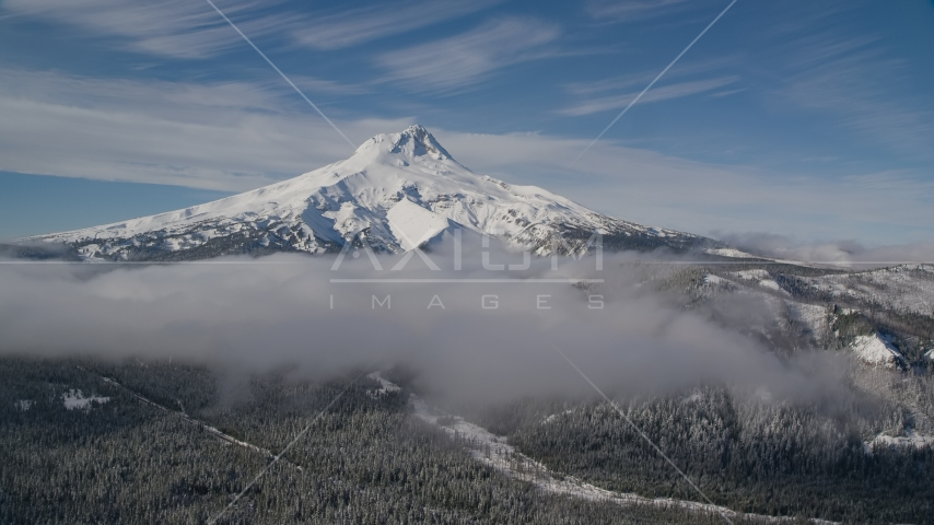 Low clouds over evergreen forest near the peak covered in snow, Mount Hood, Cascade Range, Oregon Aerial Stock Photo AX154_109.0000237F | Axiom Images