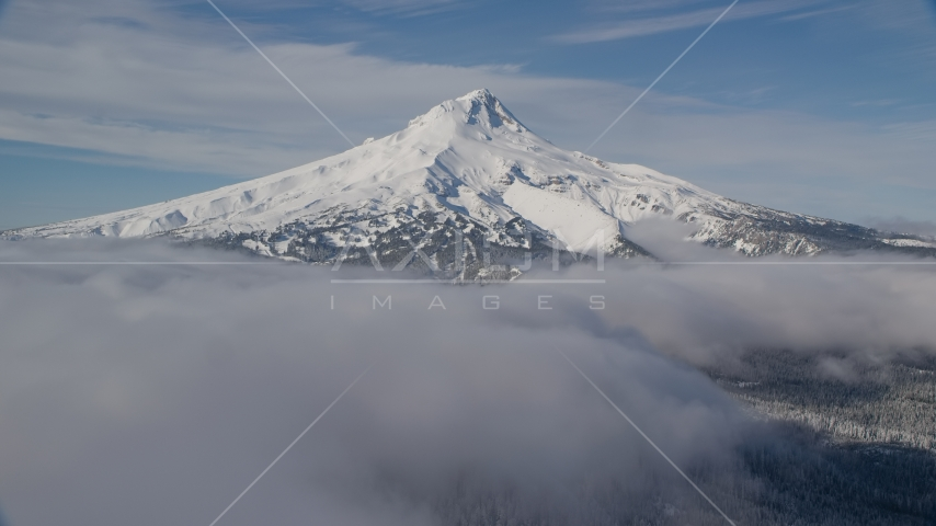 A ring of clouds around the base of Mount Hood, Cascade Range, Oregon Aerial Stock Photos | AX154_115.0000342F
