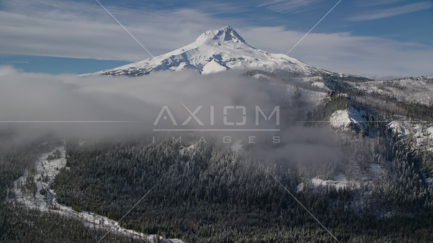 Low clouds over forest and ridge near snow-capped Mount Hood, Cascade Range, Oregon Aerial Stock Photos   AX154_121.0000120F
