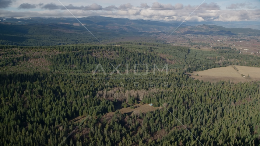 Evergreen forest, logging and farm areas near Parkdale, Oregon Aerial Stock Photos AX154_135.0000220F