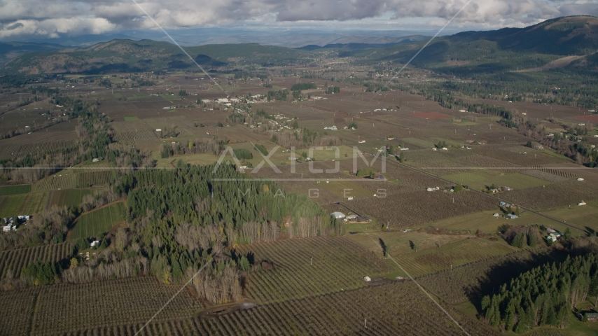 A view of farms and fields in Parkdale, Oregon Aerial Stock Photos | AX154_138.0000000F