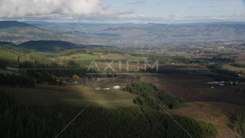 A view across farms in Hood River, Oregon Aerial Stock Photo AX154_149.0000000F | Axiom Images