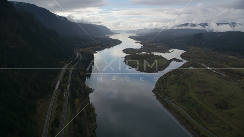 The Columbia River and I-84 highway near islands in Columbia River Gorge Aerial Stock Photos | AX154_179.0000286F