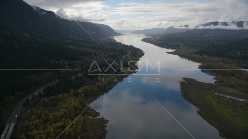Interstate 84 and the Columbia River in Columbia River Gorge Aerial Stock Photo AX154_182.0000246F | Axiom Images