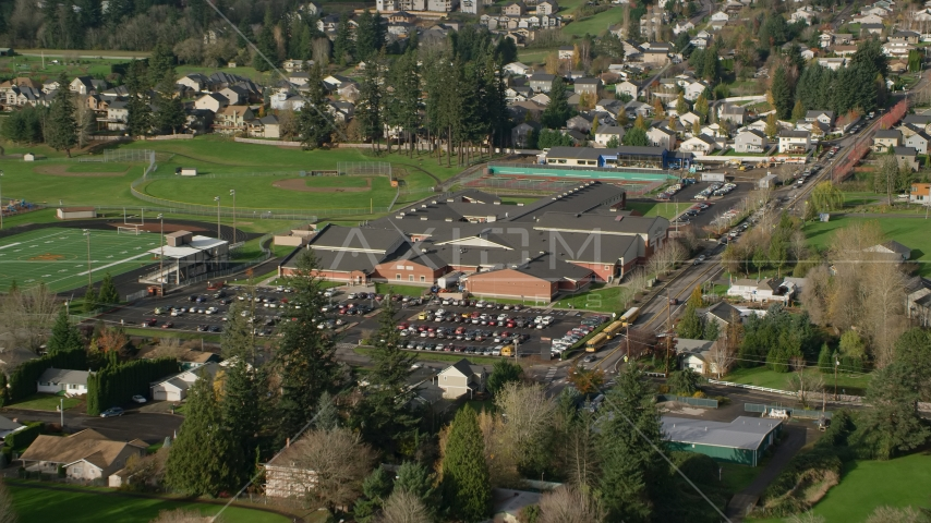 Washougal High School in Washougal, Washington Aerial Stock Photos | AX154_202.0000125F