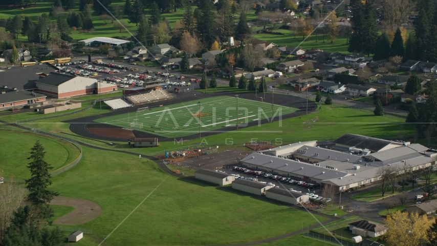 Gause Elementary and the Washougal High School football field in Washougal, Washington Aerial Stock Photo AX154_204.0000156F | Axiom Images