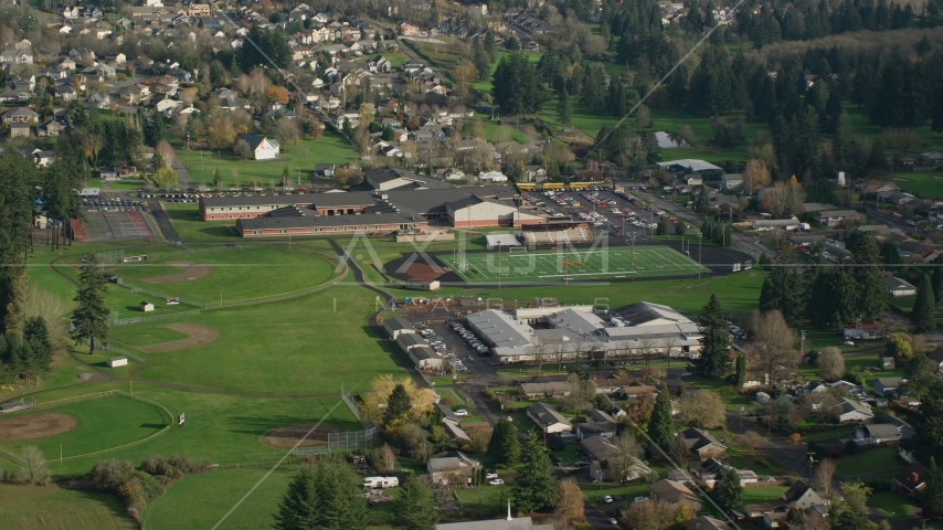 Gause Elementary, Washougal High School, and sports fields in Washougal, Washington Aerial Stock Photos | AX154_209.0000155F