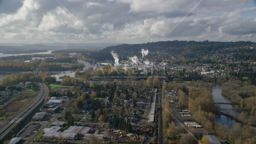 Homes near the Washougal River and the Georgia Pacific Paper Mill in Camas, Washington Aerial Stock Photos | AX154_210.0000271F