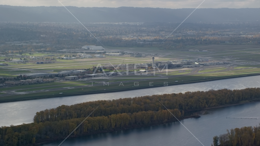 Portland International Airport seen from across the Columbia River Aerial Stock Photos | AX154_217.0000223F