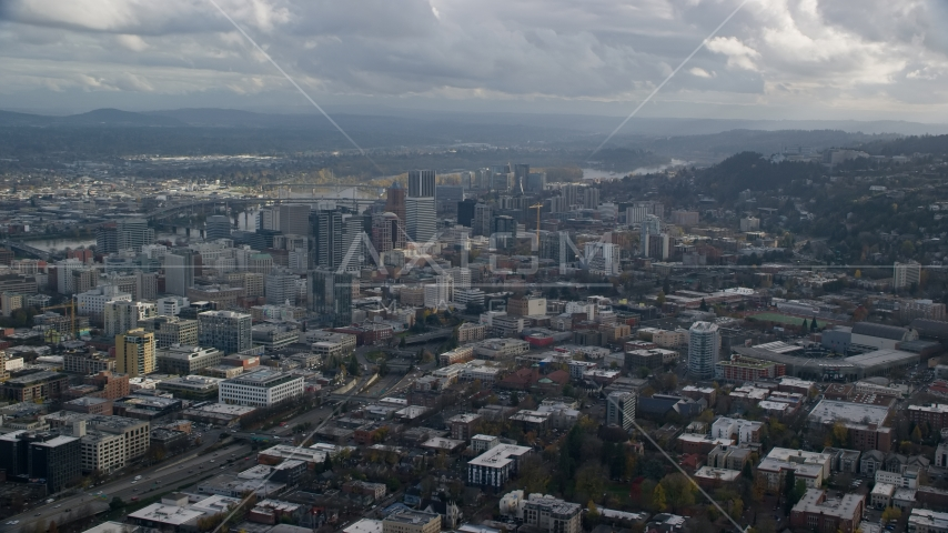 A view across the city of Downtown Portland, Oregon Aerial Stock Photo AX154_229.0000000F | Axiom Images