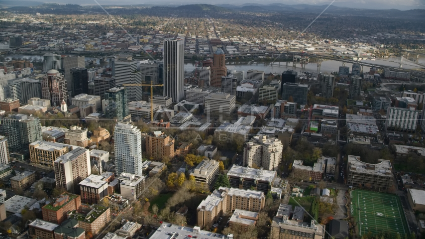 Skyscrapers and city buildings in Downtown Portland, Oregon  Aerial Stock Photo AX154_231.0000315F | Axiom Images