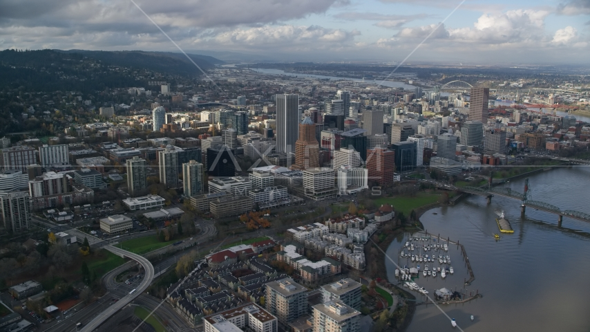 Skyscrapers in Downtown Portland, Oregon, and Riverplace Marina by Hawthorne Bridge Aerial Stock Photos | AX154_234.0000220F