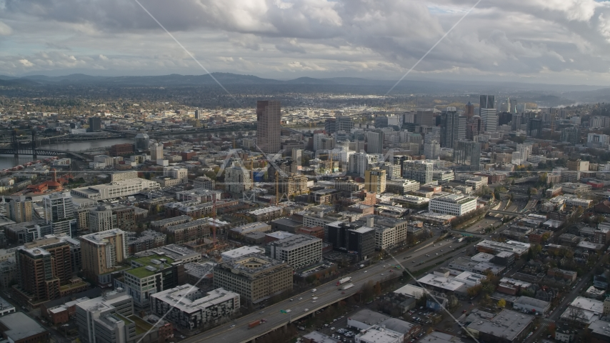 Downtown skyscrapers and Interstate 405 with Willamette River in the background, Downtown Portland, Oregon Aerial Stock Photo AX154_240.0000072F | Axiom Images