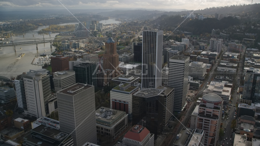 KOIN Center and Wells Fargo Center in Downtown Portland, Oregon Aerial Stock Photos | AX154_244.0000321F