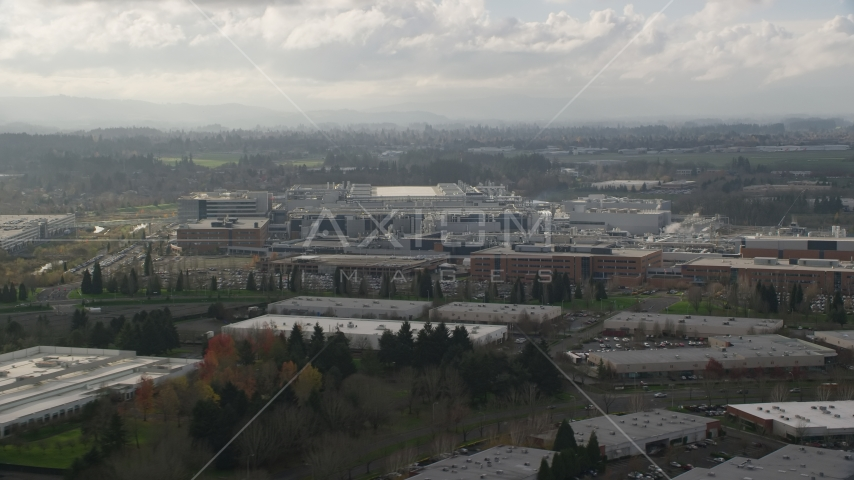 Intel Ronler Acres Campus semiconductor plant in Hillsboro, Oregon Aerial Stock Photos | AX154_251.0000260F
