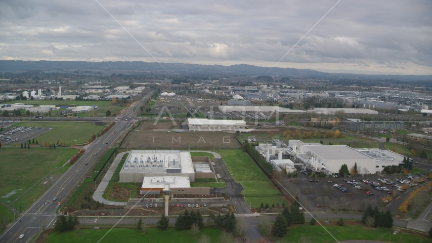 Jireh Semiconductor plant in Hillsboro, Oregon Aerial Stock Photo AX155_001.0000184F | Axiom Images