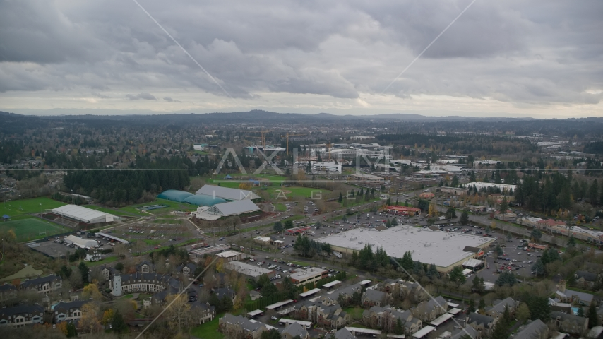 Shopping center and Tualatin Hills Sports Complex near Nike Headquarters, Beaverton, Oregon Aerial Stock Photos | AX155_008.0000037F