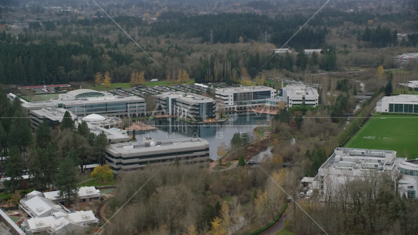 Nike Headquarters office buildings in Beaverton, Oregon Aerial Stock Photos | AX155_011.0000118F