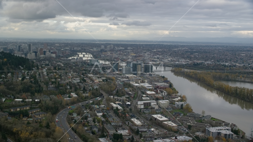 Condo high-rises by the Willamette River in South Waterfront, Downtown Portland, Oregon Aerial Stock Photos | AX155_019.0000282F