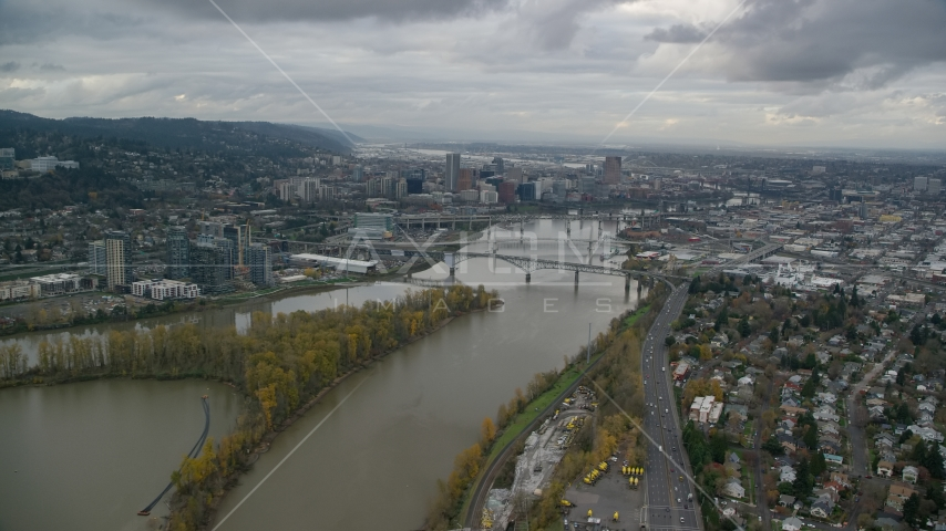 South Waterfront condo high-rises, bridges over the Willamette River, and Downtown Portland, Oregon Aerial Stock Photo AX155_022.0000225F | Axiom Images