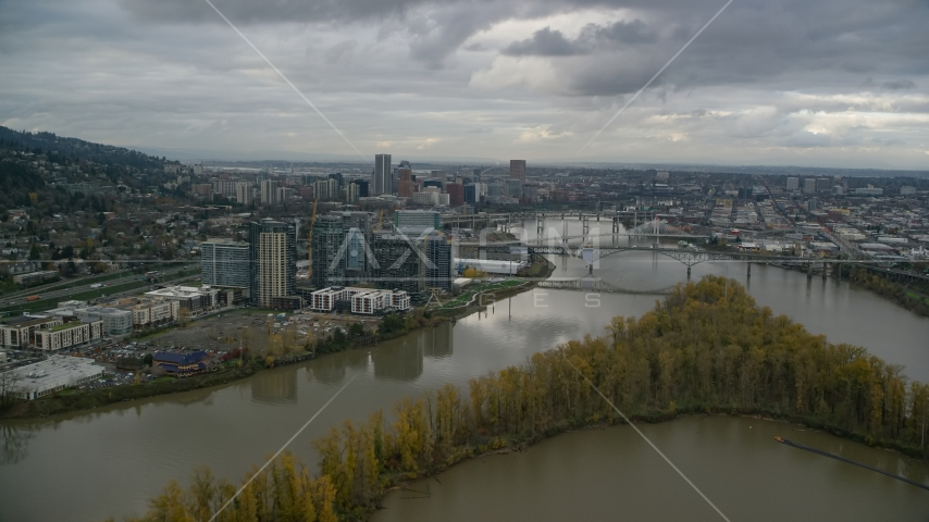 Willamette River and Ross Island, South Waterfront and Downtown Portland, Oregon Aerial Stock Photo AX155_026.0000098F | Axiom Images