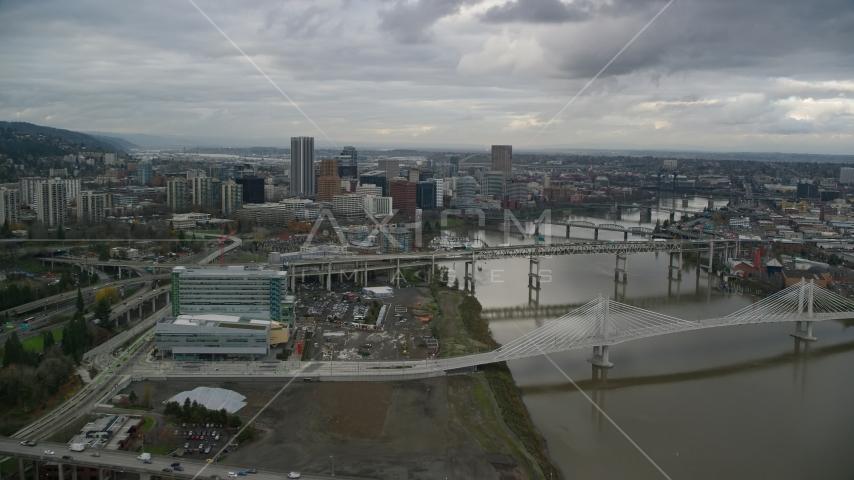 Ross Island Bridge to Downtown Portland, Oregon Aerial Stock Photos | AX155_027.0000292F