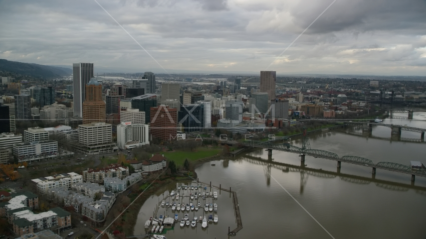 Hawthorne Bridge, US Bancorp Tower in Downtown Portland, Oregon Aerial Stock Photos | AX155_029.0000000F