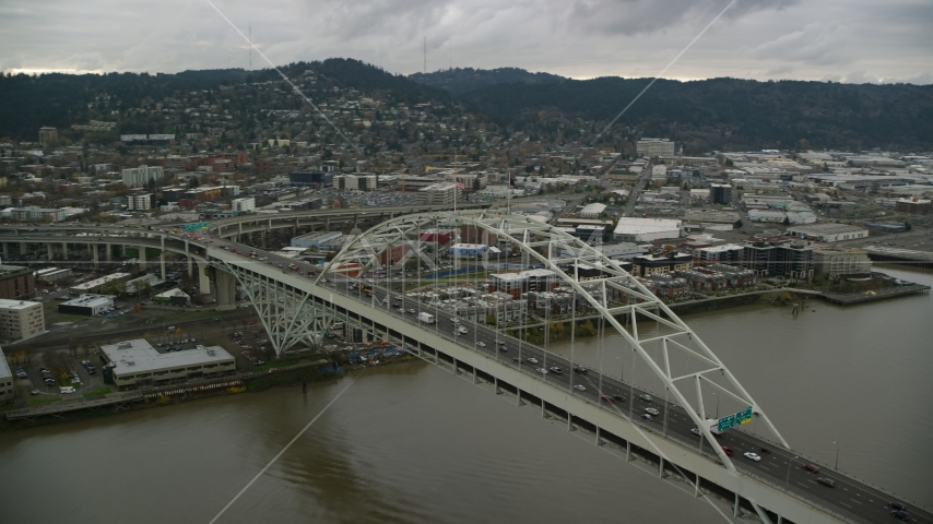 The Fremont Bridge in Downtown Portland, Oregon Aerial Stock Photo AX155_034.0000061F | Axiom Images
