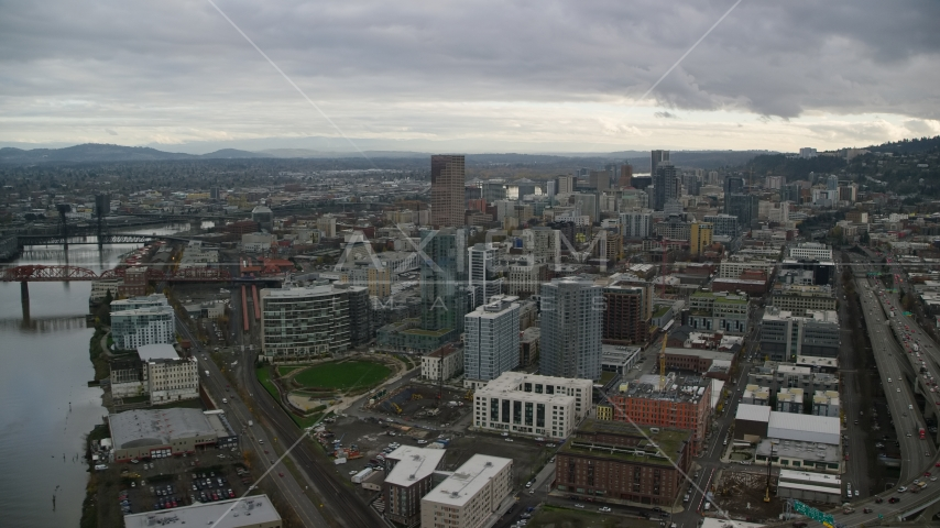 Fremont Bridge skyscrapers in Downtown Portland, Oregon Aerial Stock Photos | AX155_036.0000383F