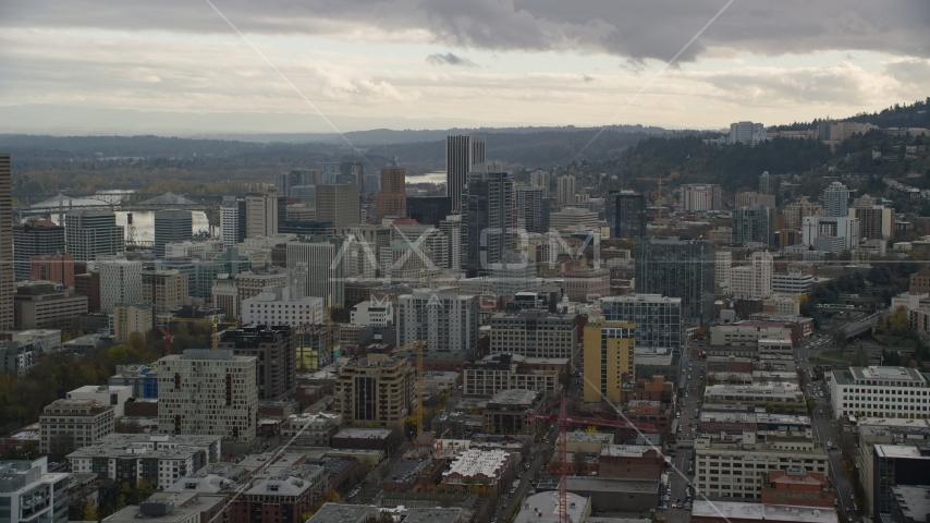 Downtown near skyscrapers, Downtown Portland, Oregon Aerial Stock Photo AX155_037.0000253F | Axiom Images