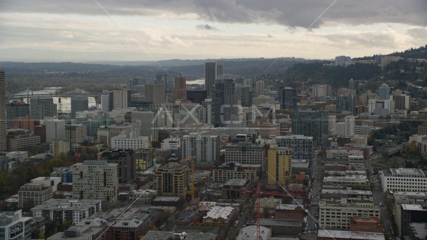 Downtown near skyscrapers, Downtown Portland, Oregon Aerial Stock Photos | AX155_037.0000253F