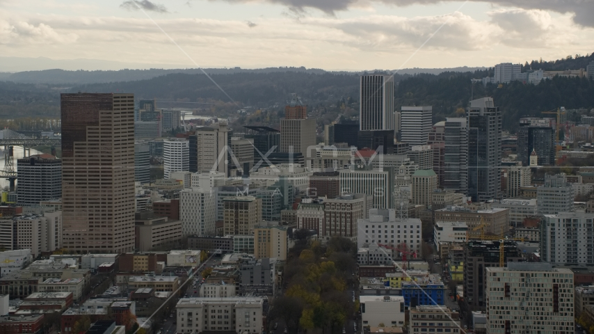 US Bancorp Tower and skyscrapers in Downtown Portland, Oregon Aerial Stock Photo AX155_039.0000000F | Axiom Images