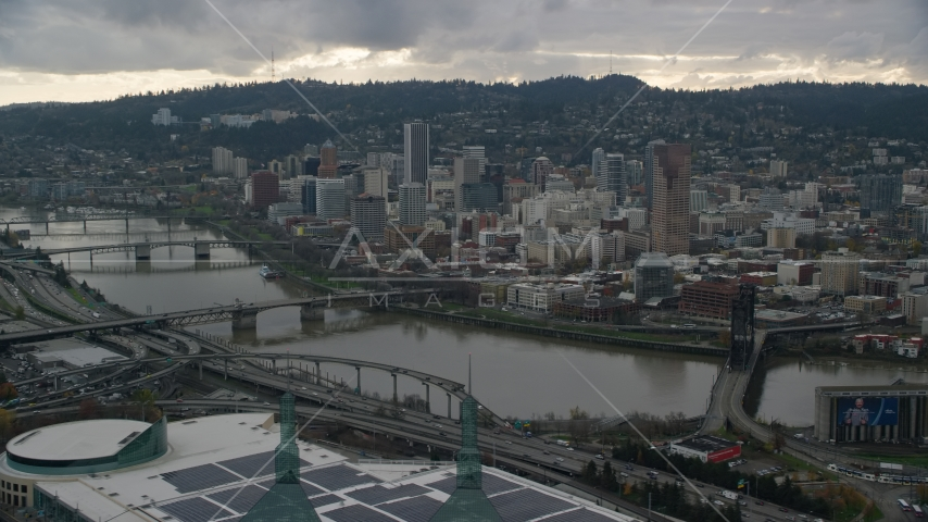 Downtown Portland, Oregon, across the Willamette River Aerial Stock Photos | AX155_041.0000116F