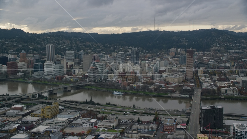 Bridges over the Willamette River and Downtown Portland, Oregon Aerial Stock Photo AX155_043.0000000F | Axiom Images