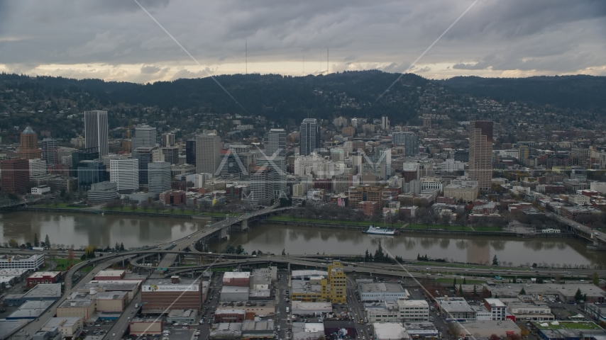 Bridges over the Willamette River and Downtown Portland, Oregon Aerial Stock Photos | AX155_043.0000227F