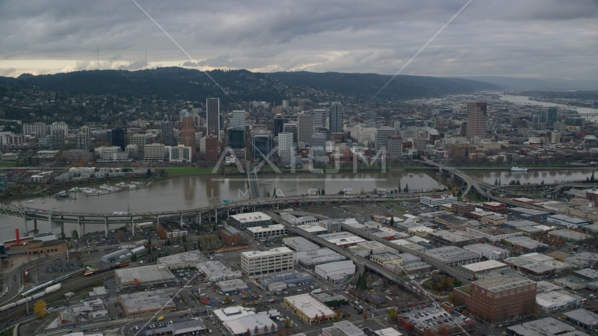 Bridges spanning the Willamette River leading to Downtown Portland, Oregon Aerial Stock Photos | AX155_045.0000130F