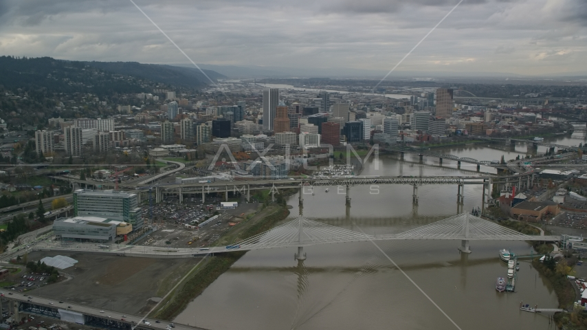 Willamette River and bridges near Downtown Portland, Oregon Aerial Stock Photos | AX155_047.0000000F