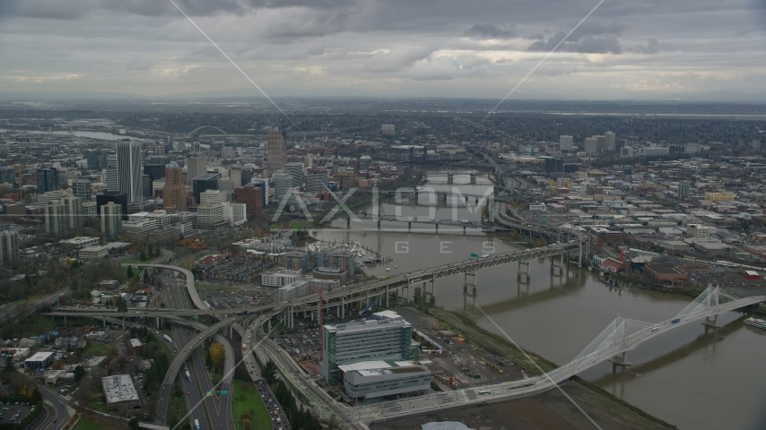 Downtown Portland and bridges over the Willamette River in Oregon Aerial Stock Photo AX155_048.0000242F | Axiom Images