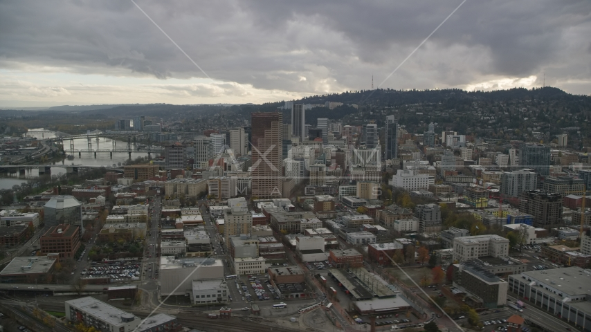 Skyscrapers, downtown buildings, and US Bancorp Tower, near Willamette River in Downtown Portland, Oregon Aerial Stock Photos | AX155_053.0000301F